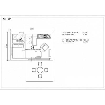 Modulárny dom 1-izba - pôdorys